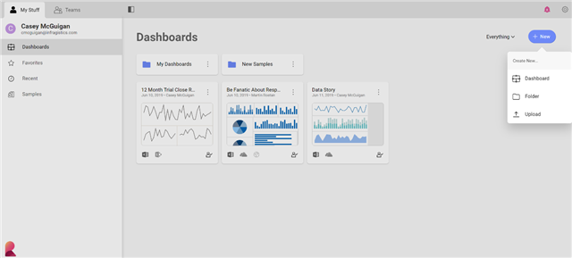 Steps to Data Insights - click the new button in the top right-hand corner and select dashboard