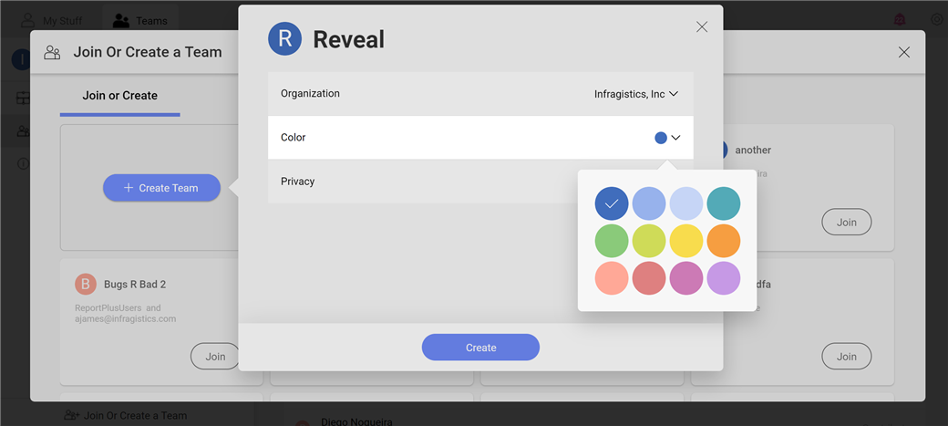 Select a themed color for your team to add a little more personality
