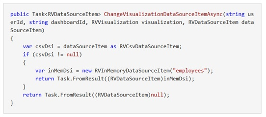Change Visualization Data Source Item Async example code