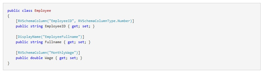 RV Schema Column attribute can be used to alter the field name and/or data type