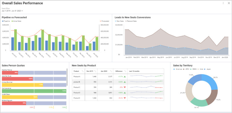 Data visualization - business teams reveal sales dashboard.