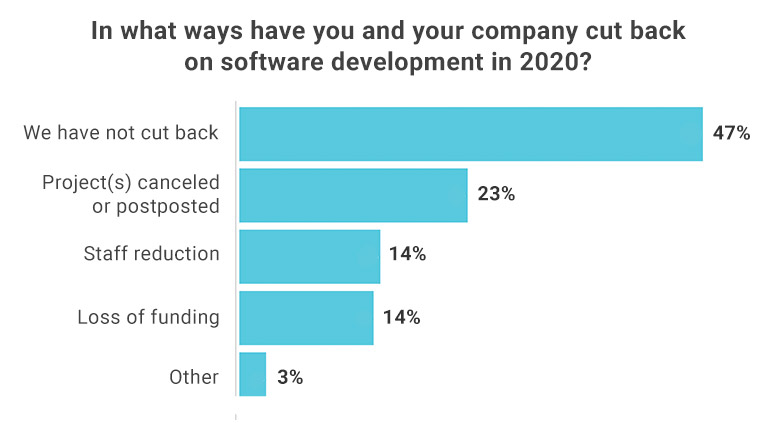 Bar chart showing ways that companies say they have cut back on their software development in 2020.