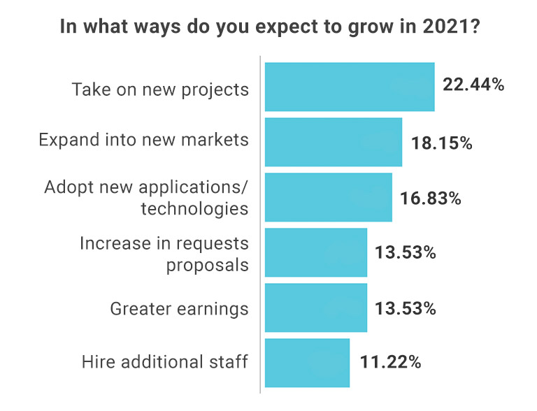Poll showing results of how companies expect to grow in 2021.