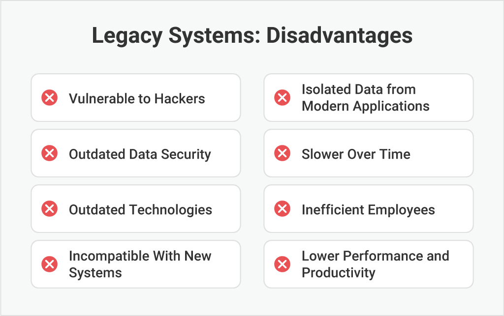 the disadvantages of legacy systems